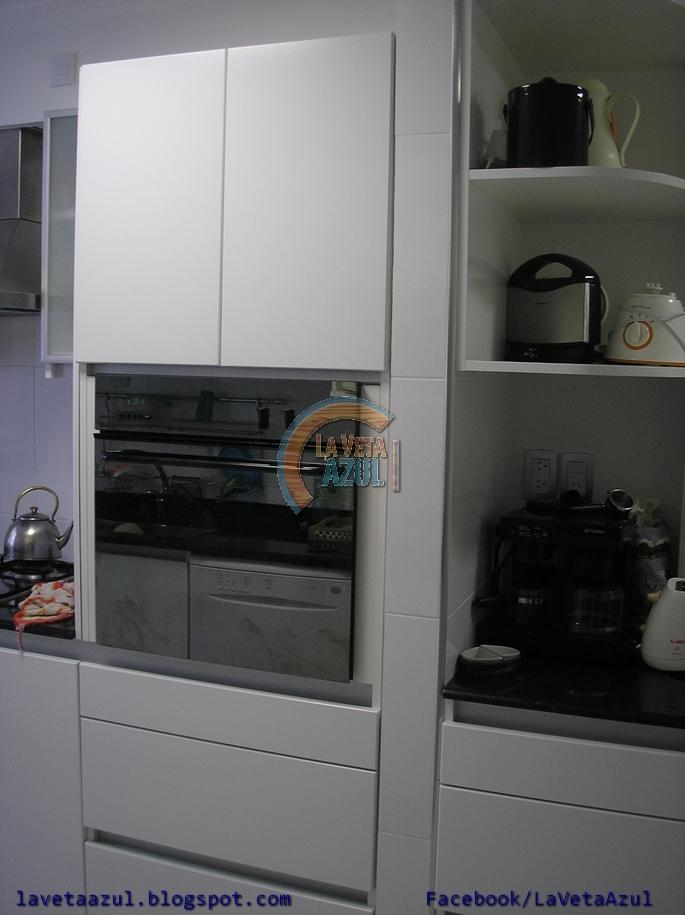 La veta azul mueble cocina en termoformado blanco for Manijas para puertas de vidrio