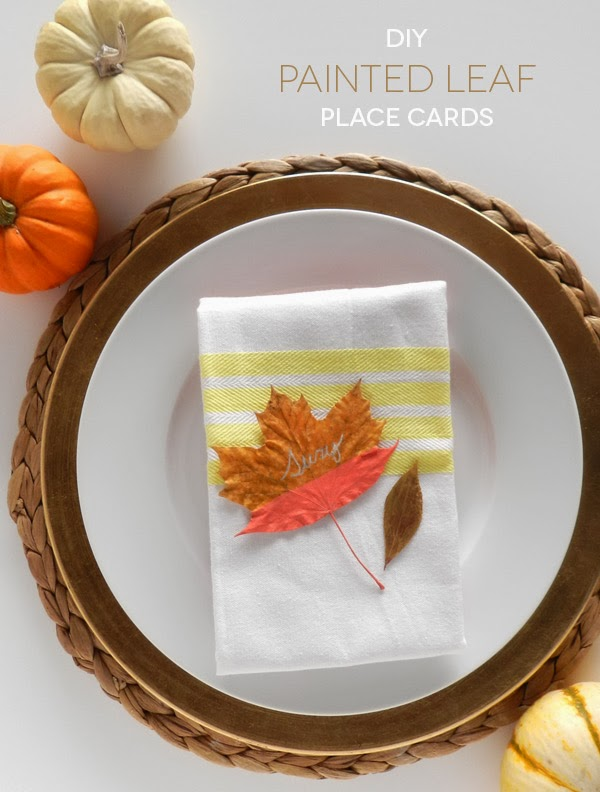 Diy painted leaf place cards sas rose for Diy thanksgiving table place cards