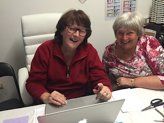 Zena and Shelagh two Paper Angels working on a blog