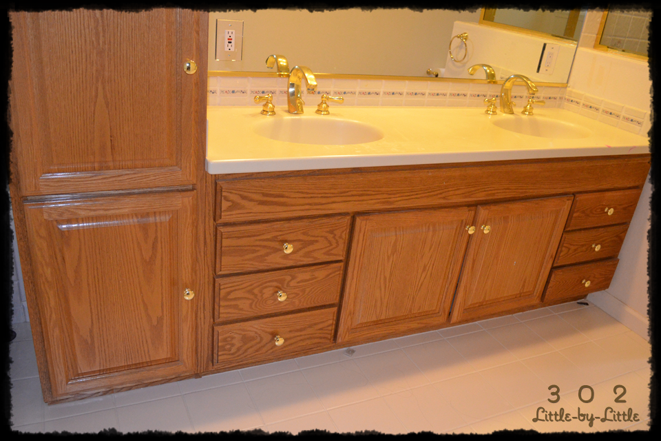 Little By Little Stained Bathroom Vanity Espresso DIY - How to stain a bathroom vanity