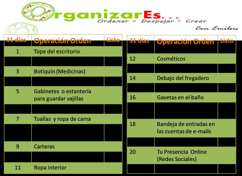 Organizar es operaci n orden - Plan de limpieza de una casa ...