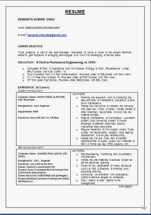 updated - Good Resume Format Samples
