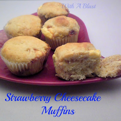 Strawberry Cheesecake Muffins ~~ muffins filled with cream cheese & strawberry jam baked all in one!    #muffins #sweettreats #teatimetreat #cheesecake via:withablast.blogspot.com