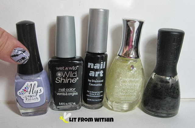 Bottle shot:  Aly's Dream Polish Rumpleberry, Wet 'n Wild Black Creme, black striper, Sally Hansen Glass Slipper, and Nubar Black Polka Dots.