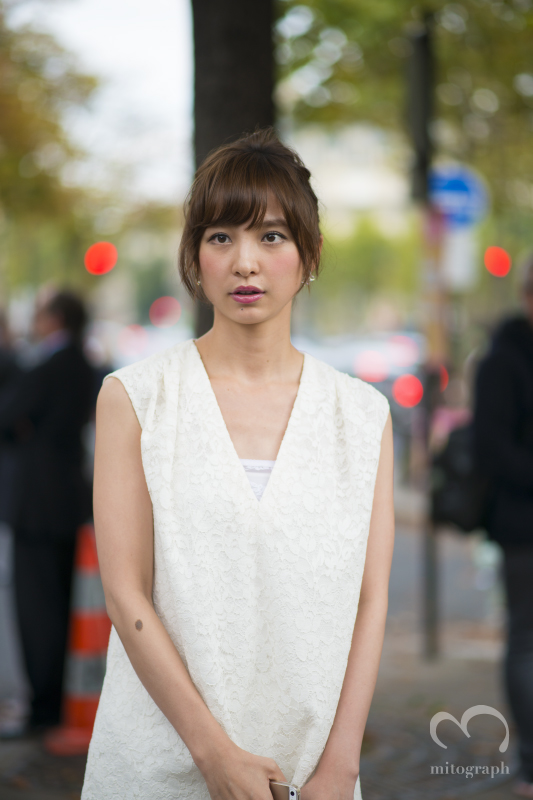 Japanese talent Mariko Shinoda at Miumiu show during Paris Fashion Week 2014 Spring Summer