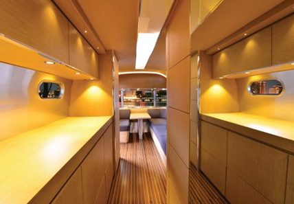 kitchen of airstreams land yacht luxury trailer and vanity caravan