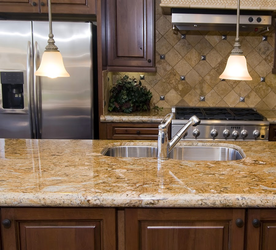 kitchen with marble countertop idea