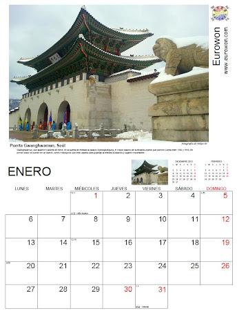 Mes de enero en el calendario de 2014 con fotos de Corea