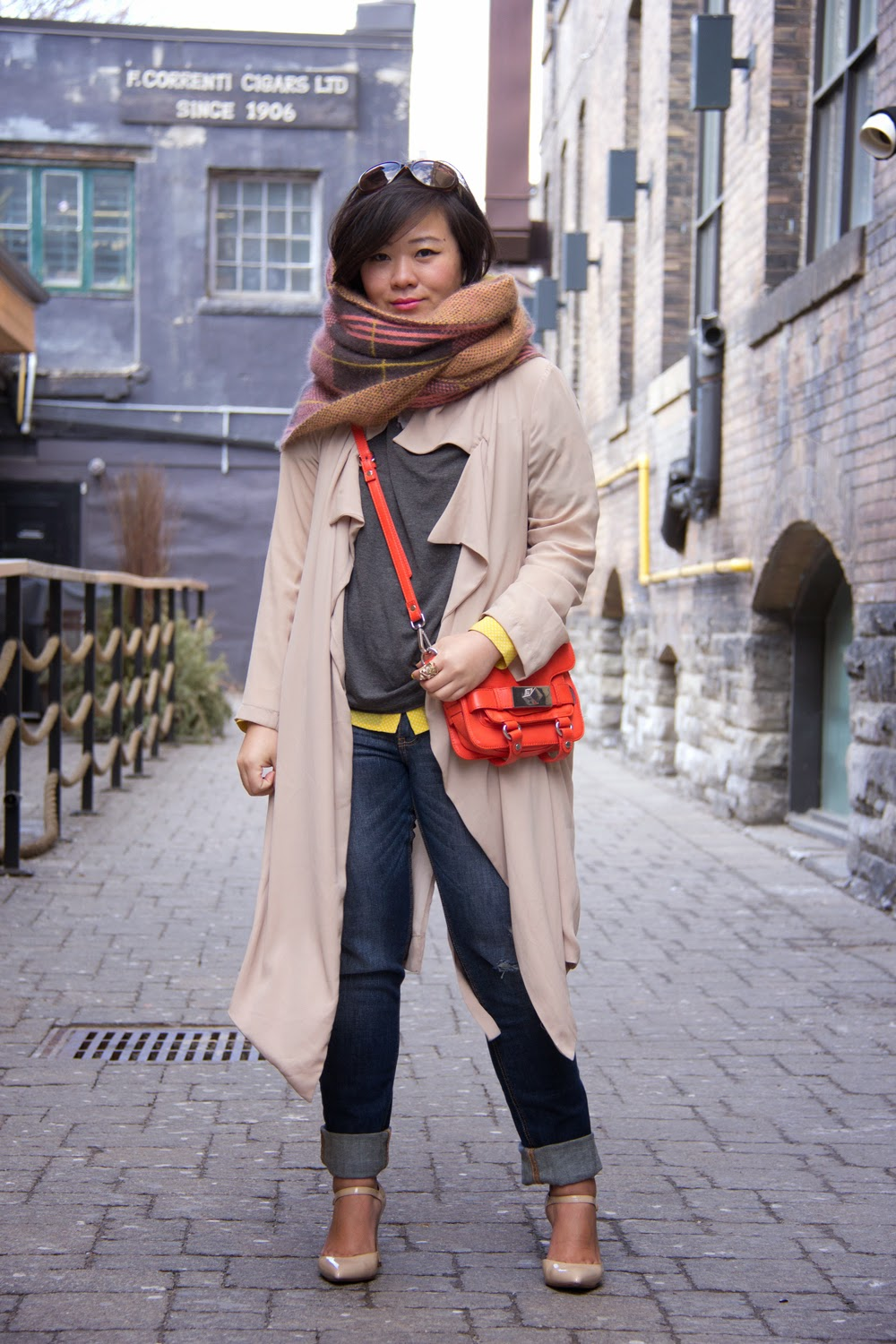 Spring-Outfit-Look, Chiffon-Trench-Coat, Orange-Mini-Toto-Bag, Street-Style, Casual-Chic