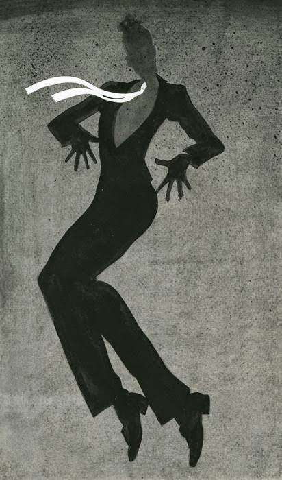 fashion illustration of a dancing woman by Robert Wagt