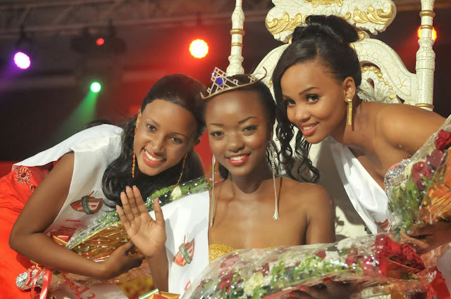 Miss Tanzania 2013 winners Happiness Watimanywa, Latifa Mohamed and Clara Bayo