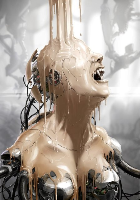 vincent ptitvinc deviantart ilustrações artes conceituais fantasia futurista robôs tecnologia Criando uma criatura de pesadelo