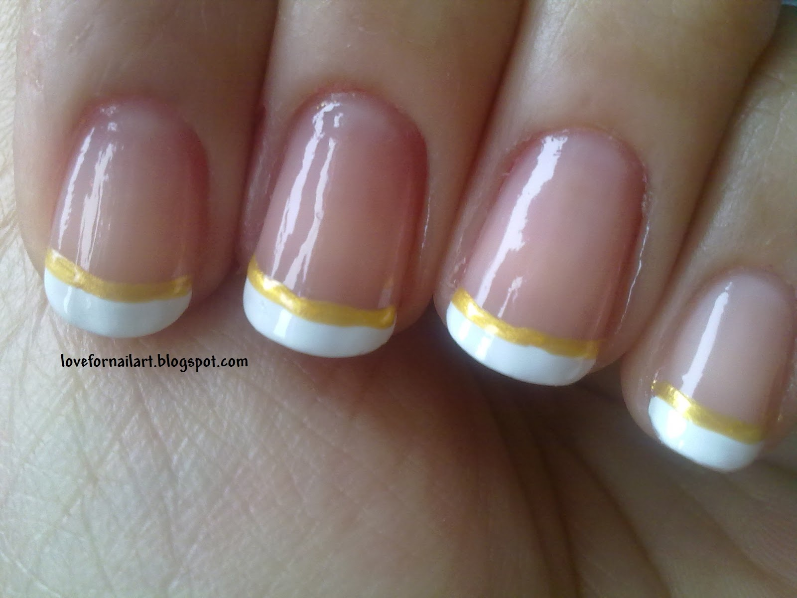 Love For Nail Art: Basic white and gold french tips