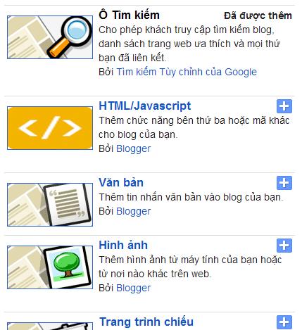 Một số tiện ích của Blogspot