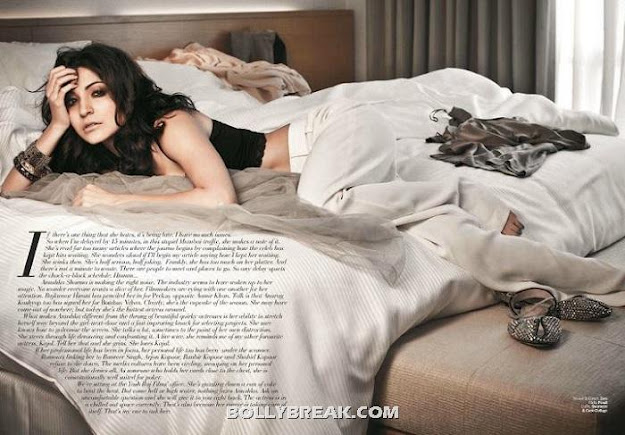 Anushka Sharma sleeping on bed in a black nighty - (2) - Anushka Sharma Filmfare July 2012 Scans
