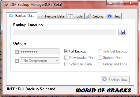 Internet Download Manager IDM Backup Manager 0.9.7 Beta2