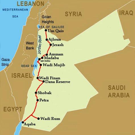Mapa Jordánska