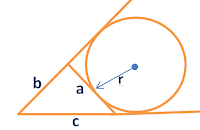 area of triangle given a circle escribing it