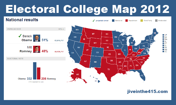 Final Electoral College Map for Election 2012 Obama 332 Romney 206