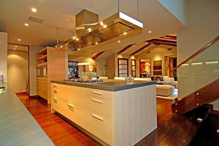 Kitchen island in Calvin Harris's new celebrity house