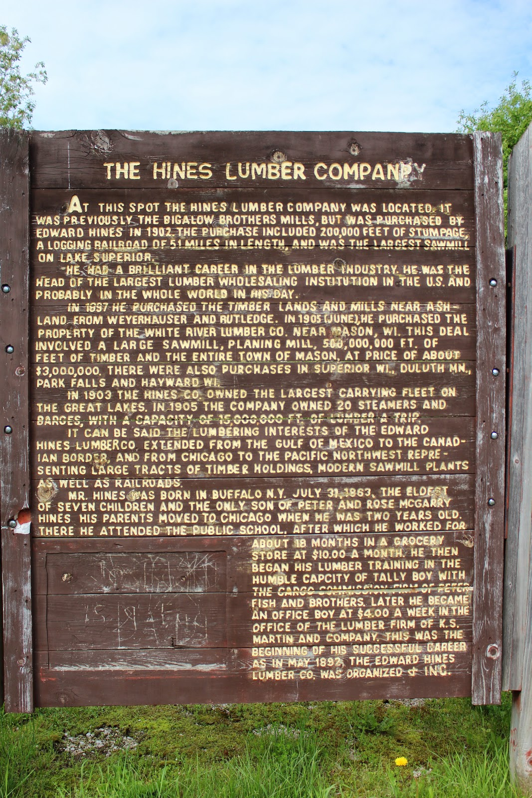 Wisconsin historical markers the hines lumber company