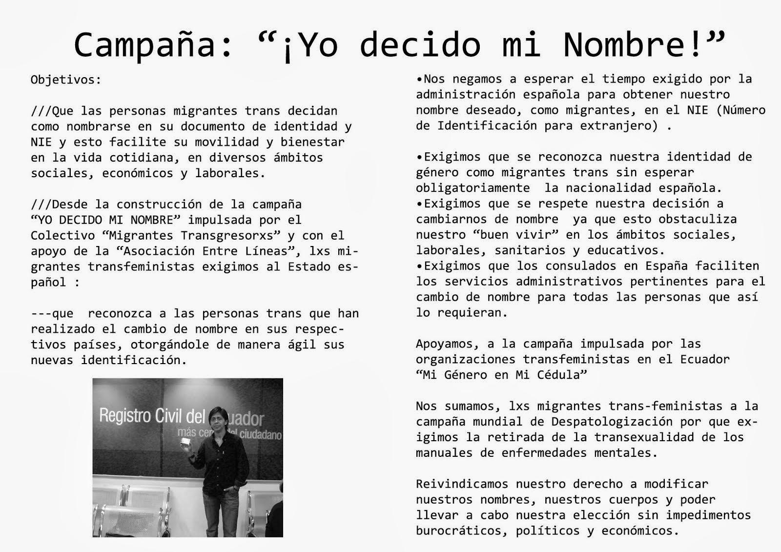 """Campaña Migrantes Transgresorxs: """"Soy TRANS y yo decido mi nombre"""". Caso Ecuador"""