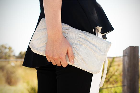 Kookai white snakeskin clutch