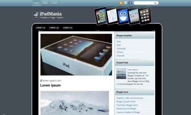 Free Apple Ipad Blue Blogger Layout Template