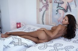 Angel Dark on bed for Met Art