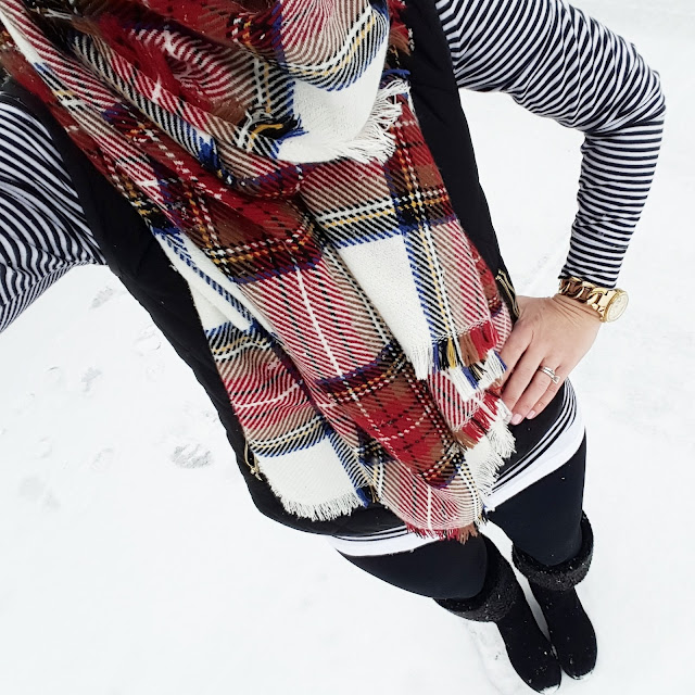 Old Navy Striped Tee (similar) // Old Navy Vest (this year's version) // Zella Live In Leggings  // Merona Scarf // Nine West Wedge Boots (similar) // Michael Kors Runway Watch