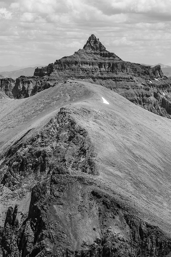 Black and white of Teakettle Mountain in the Sneffels Range, Colorado