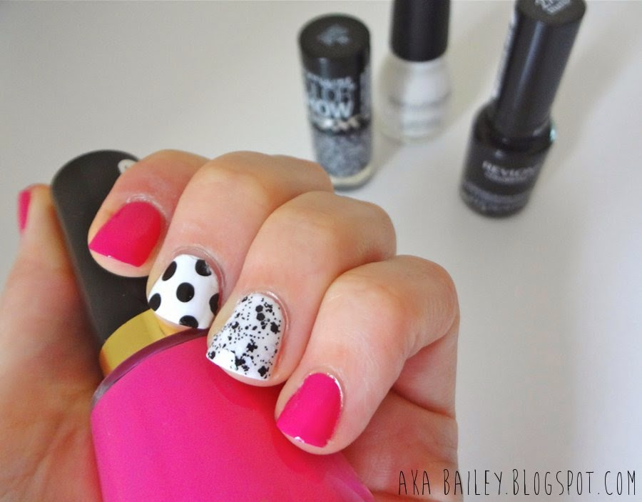 Fuchsia nails with black and white polka dot accent nails, black and white glitter polish