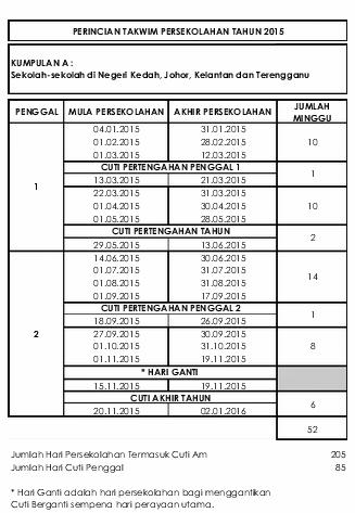 Jadual Cuti Sekolah 2015