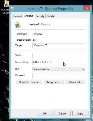 طريقة عمل إختصار على لوحة المفاتيح لتسهيل الوصول إلى أي مجلد أو ملف أو برنامج  3