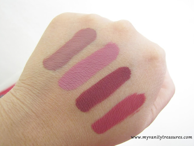 colourpop beeper swatch, colourpop bumble swatch, colourpop tulle swatch, colourpop clueless swatch