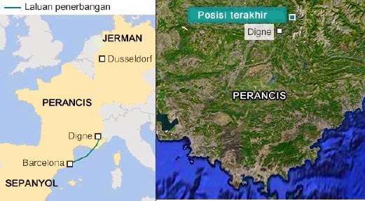 Pesawat Germanwings terhempas 8 minit selepas hilang altitud
