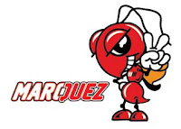 Logo vektor Maskot Semut Marc Marquez + Tulisan MARQUEZ