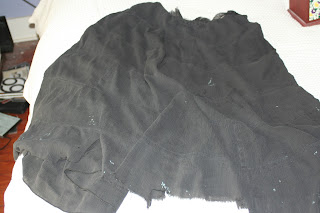 Crappy ratty gauze skirt applique