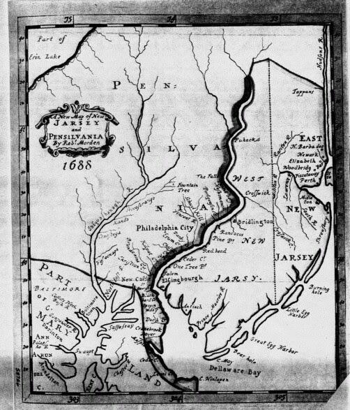 Delaware Colonial map of Delaware Bay 1688.
