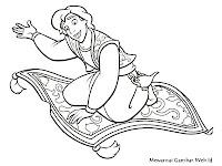Gambar Mewarnai Aladin Naik Permadani Terbang