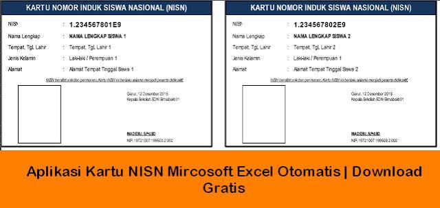 Aplikasi Cetak Kartu NISN Microsoft Excel | Download Gratis