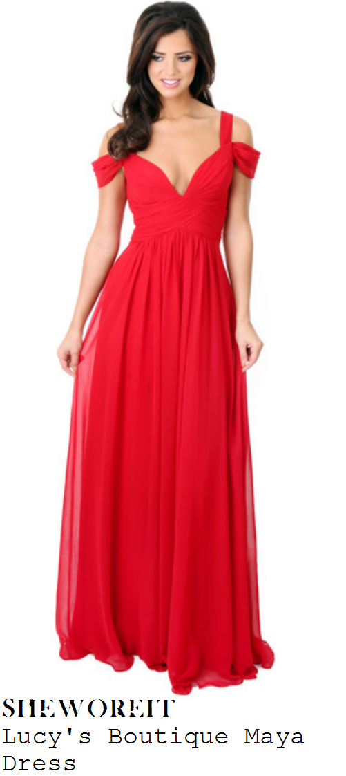 lucy-mecklenburgh-red-off-the-shoulder-plunge-front-pleated-maxi-dress-gown