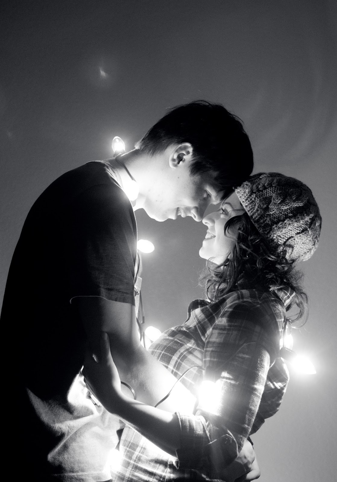 Couple in Christmas Lights