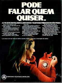 propaganda Companhia Telefônica Brasileira - 1970; propaganda década de 70; História dos anos 70; Brazil in the 70s.