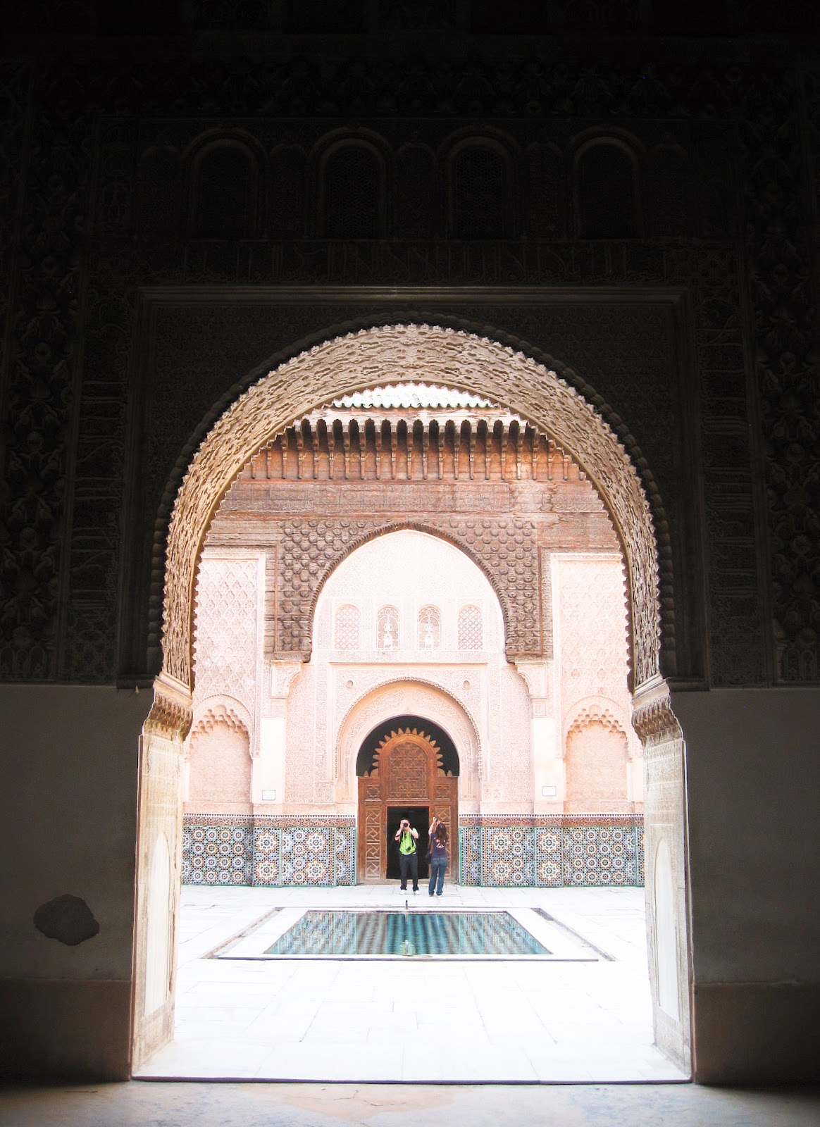 Marrakech top tourist attractions: Beautiful moorish architecture of Medersa Ben Youssef