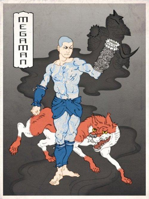 jed henry ilustração video game nintendo pinturas japonesas tradicionais ukio-e