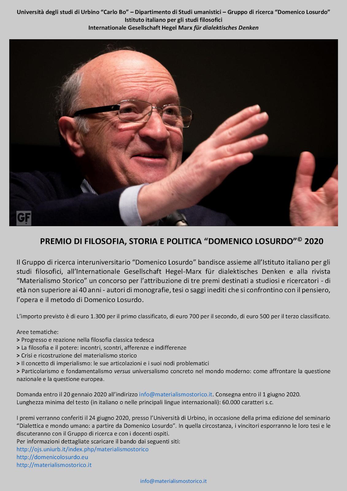 """Premio """"Domenico Losurdo"""" 2020 - PROROGATO PER L'EMERGENZA SANITARIA"""