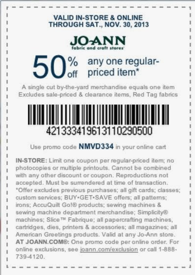 Joann fabric coupon good through 11/30/13 at Clever Nest