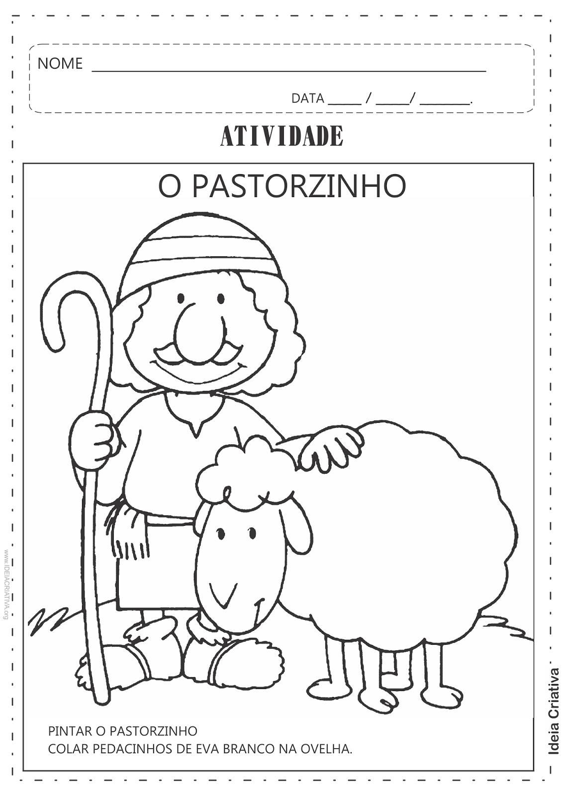 Atividades  O Pastorzinho Número e Quantidade Recorte e Colagem