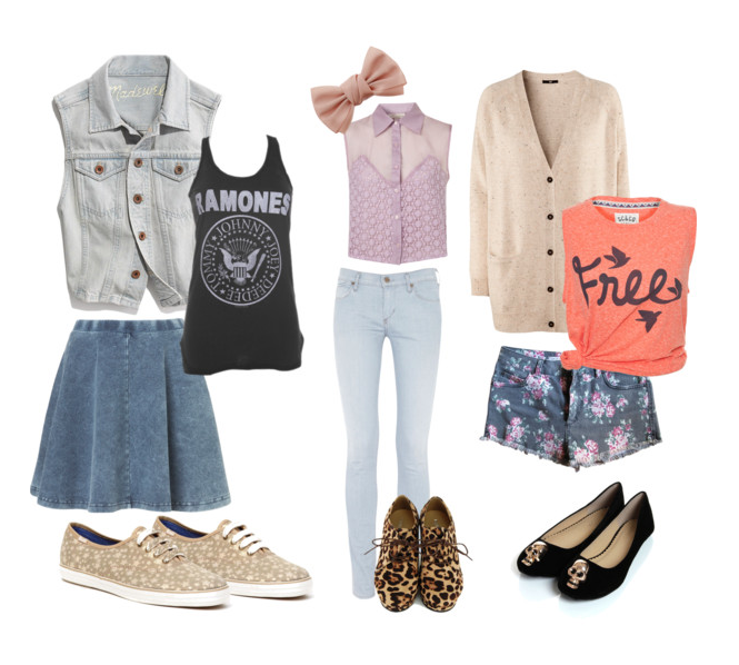 Here are outfit ideas for the more edgy, trendy girl: